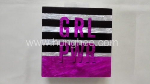 Printing Pattern Pearl Acrylic Evening Clutch Bag Perspex Evening Bags HH-AC1666