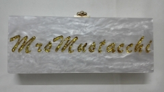 Customized Marble Acrylic and Gold Confetti Female Luxury Handbags Marble Evening Bags HH-AC1656