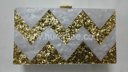 White Pearl and Gold Confetti Acrylic Party Clutches Perspex Box Clutch Bag HH-AC1657