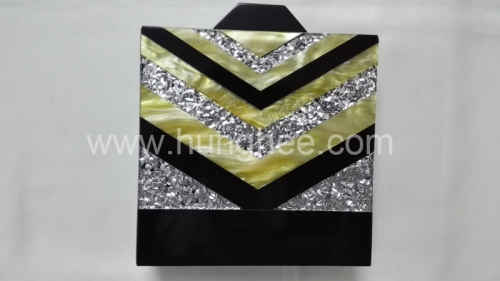 Customized Pearl Acrylic Box Clutch Lucite evening bags HH-AC1655