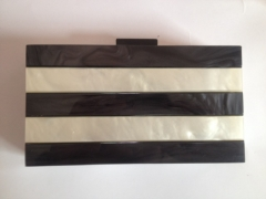Pearl Acrylic White and Black Box Clutch Evening Bag Elegent Acrylic Bag HH-AC7248