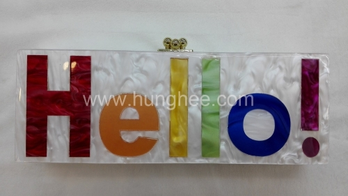 White Pearl Case with Multi-color Letters Customized Resin Evening Bags HH-AC2624