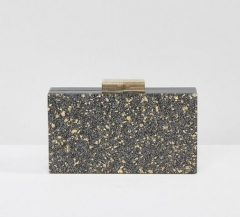 Black Base with Gold Flakes Acrylic Clutch Evening Handbags for Women Acrylic Bags HH-AC7250