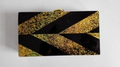 Solid Black and Gold Confetti Acrylic Clutch Handbags Resin Clutch Evening Bags HH-AC1735