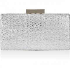 Clear Crystals Hot-fixed on Silver Satin Crystal Clutch Evening Bags HH-CR34717