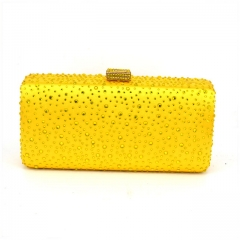 Citrine Crystals Hot-Fixed on Yellow Satin Crystal Clutch Evening Bag Wholesale HH-CR20480