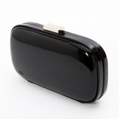 Black Patent Faux Leather Box Candy Clutch Evening Clutch Bags With Top Clasp Chain Strap PU42428