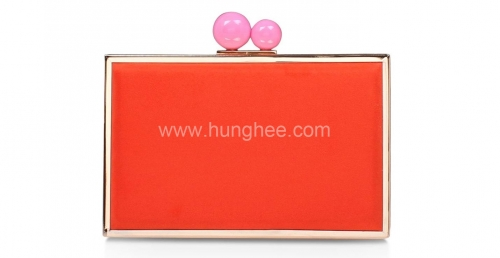Faux Suede Leather Rectangular Box Clutch With Top Candy Clasp For Women Faux Leather Clutch Bags HH-PU50450