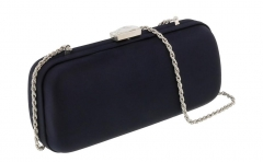 Black Satin Box Clutches Evening Bags with Crystal Clasp HH-SA58266