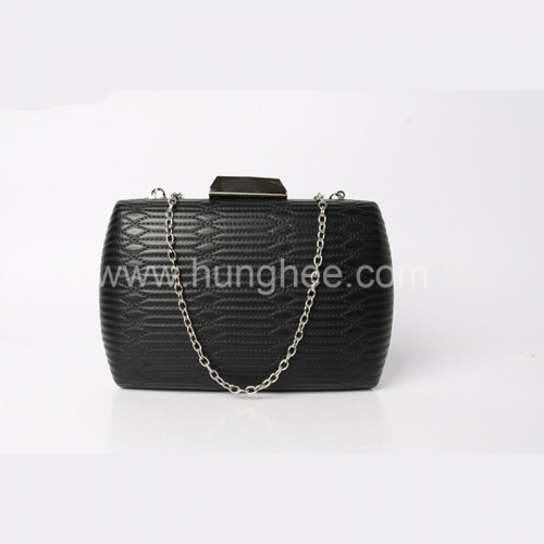 Black Womens Embroidery Faux Leather Metal Case Faux Leather Clutch Purse HH-PU81608