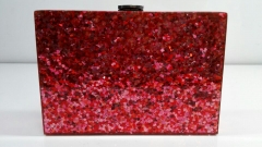 Heart Red Confetti Acrylic Box Evening Bag Purse Handbag Acrylic Clutch Box Bag HH-AC2024