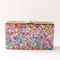 Colorful Acrylic Box Clutch Perspex Handbags Acrylic Clutch Evening Bag HH-AC11026