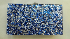 China Factory Supplier Navy Blue Confetti Acrylic Clutch Bag Wholesale HH-AC1930