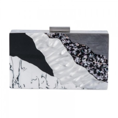 Pearl and Star Confetti Acrylic Box Clutch Evening bag Acrylic Clutch Handbag HH-AC88219