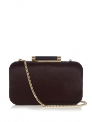 Dark Brown Horsehair Hard Case Evening Clutch Bags and Purses with Resin Coffee Color Closure HH-PU53682