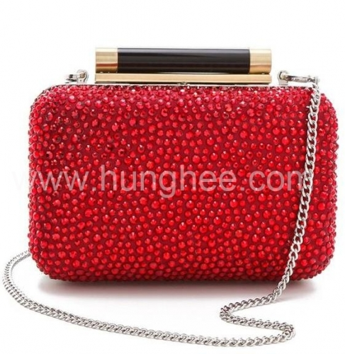 Black Resin Closure Red Color Hot Fix Crystal Evening Clutch Bags and Purses HH-RH41155
