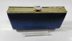 Navy Blue PU Leather Evening Party Handbag Evening Clutches with Decorative diamond HH-P42228
