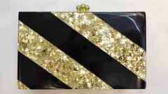 Gold Stars and Solid Black Strips Acrylic Box Clutch Purses Acrylic Clutch Wholesale HH-AC1932