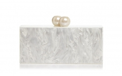 Elegant Female White Pearl Colored Acrylic Evening Bags with Pearl Ball Closure HH-AC86685
