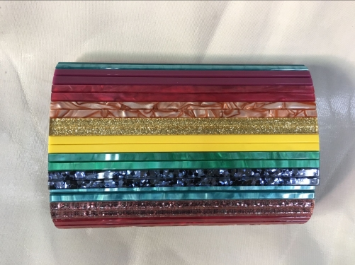 Rainbow Pearl Acrylic PARTY ENVELOPE Clutch Bag Perspex Handbags Acrylic Evening Handbag HH-AC31645
