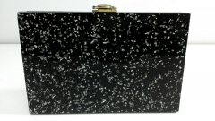 Black Acrylic Hard Box Clutch with Silver Confetti Acrylic Transparent Clutch Bag HH-AC2030