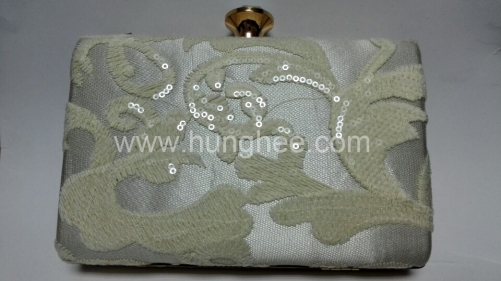 White Satin Silk Lace Hard Case Clutch Evening Bag and Handbags HH-LA5637