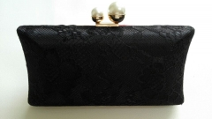 Satin Silk Lace Hard Case Clutch Evening Bag and Handbags with Two Pearls Closure HH-LA5447