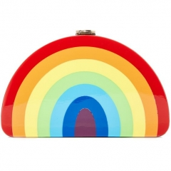 Rainbow Half Moon Clutch Evening Handbag Box Clutch Party Lucite Clutch HH-AC88581