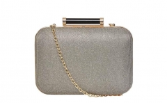 Gold Glitter Hard Case Evening Clutch Bags with Black Resin Clasp HH-HD5862