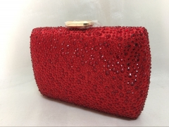 Hot Fixed Crystal Metal Box Clutch Red Crystal Evening Clutch Handbags HH-HF70454