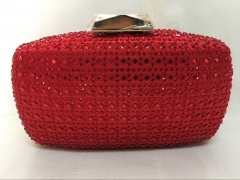 Ladies Red Satin Hot-fixed Crystal Evening Clutch Handbag HH-HF70407