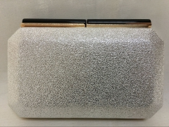White Metallic Faux Leather Evening Box Clutch Purse with Resin Closure HH-PU70813