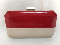 Red and Beige Bi-color Faux Leather PU Leather Evening Handbag HH-PU70903