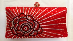 Red Satin Colorful Flower Pattern Crystal Evening Clutch Bag HH-HF17734