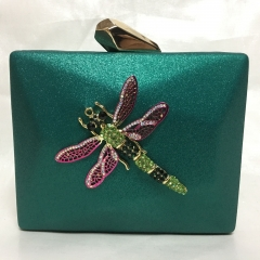 Green Faux Leather Evening Purse Metallic Clutch Bags with Crystal Dragonfly PU30527