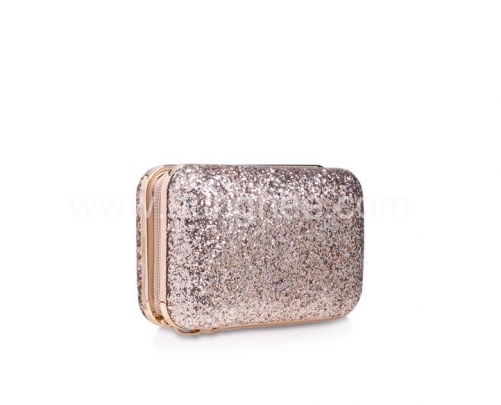 Zipper Gold Glitter Hard Case Evening Bag Bridal Clutch Evening Handbag HH-GLT61769