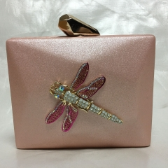 Pink Faux Leather Evening Purse Metallic Clutch Bags with Crystal Dragonfly PU30612
