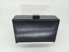 Black Giltter PU leather Hard Clutch Bridal Prom Wedding Party Evening Handbags HH-PU84722