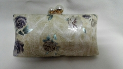 Flower Print Faux Leather Evening Clutch Bags Metal Frame Clutches Evening Bride Bag HH-PU84944