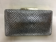 Silver PU Leather Hard Clutch Faux Leather Evening Bags HH-PU90702