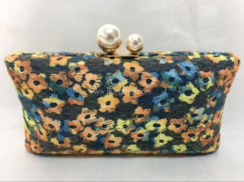 Floral Embroidery Silk Satin Metal Case Clutch Evening Bags with Pearl Closure HH-SE6569