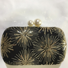 Black Satin Gold Sequins Clutch Handbag Wedding Evening Purses HH-SE3622