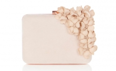 Beige Faux Suede Party Purses Hard Case Evening Clutch Bags with SuperFabric Flowers HH-HD50510