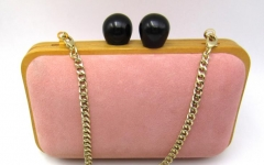 Pink Suede Wooden Party Prom Wedding Bride Evening Bags Clutches HH-WD80708