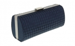 Navy Blue Satin Weave Box Clutch Hard Case Clutch Evening Bags HH-SA47201