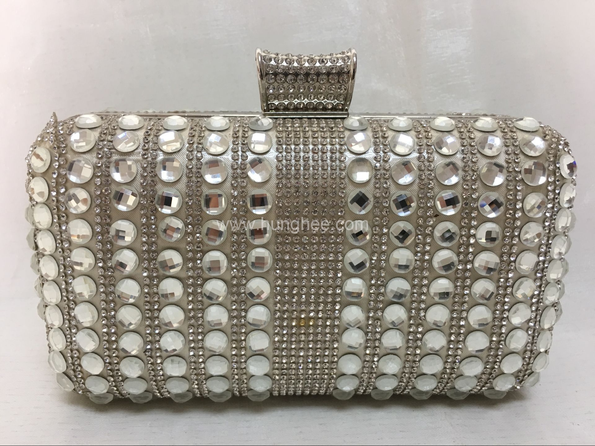 White Rhinestone Crystals Bridal Wedding Hard Case Crystal Evening Purses HH-CR70226