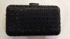 Black Satin Hot Fixed Rhinestone Crystal Evening Bags Clutches HFCR73724