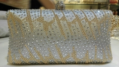 Gold and Clear Crystals Hot Fixed on Silver Satin Crystal Evening Handbags HH-RH50758