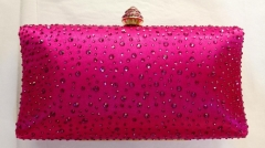 Fuchsia Satin Hot Fixed Crystals Box Clutch Bridal Crystal Evening Clutch Bags HH-HF17832