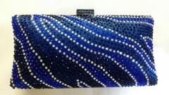 Hot-fixed Navy Blue White Crystal Rhinestones Bridesmaid Crystal Evening Clutches HH-RH50757